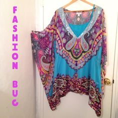 Fashion Bug Flowy Top with Sequins This is a colorful top, size 4X or 26/28 from Fashion Bug. I have worn this several times but it is still in great condition, I always get compliments on this shirt. Flowy and flattering, 2 pieces (shell seperate), with sequined collar. Fashion Bug Tops