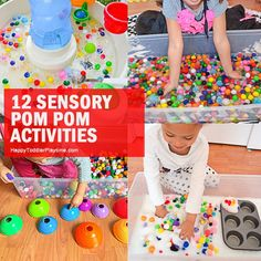 Here are 21 fun and amazing SENSORY BINS for toddlers and preschoolers. Learn and play with all these sensory bin ideas from rice to pom poms to caps and more! Toddler Sensory Bins, Baby Sensory Play, Sensory Bags, Montessori Toddler, Toddler Fun, Toddler Preschool, Toddler Crafts, Montessori Bedroom, Sensory Diet