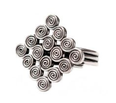 Handmade Ethnic Tribal Spirals Sterling Silver Ring Boho
