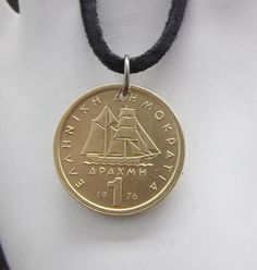 Boat Coin Necklace Greek 1 Drachma Coin Pendant Leather