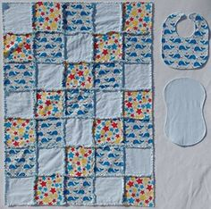 What new mother or mother-to-be wouldn't love this colorful, soft and cuddly baby quilt? I've been making quilts for family and friends for over 20 years. Quilts are made with two layers of flannel; mothers have told me that three layers are too heavy and warm for their little ones.... see more details at https://bestselleroutlets.com/baby/gifts/product-review-for-cute-whale-print-with-coordinating-accent-fabrics-in-primary-colors-baby-rag-quilt-with-matching-burp-c