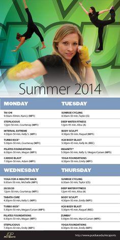 #PURecSports GroupX Summer 2014 Schedule. #MoveMoreAchieveMore