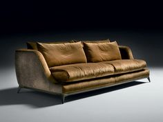 Sofa with structure in poplar wood, with crossed elastic belt spring system. Padding in high-density expanded polyurethane, upholstery in thermo – bonded fibre with stretch jersey. Seat cushions in 100% European channelled goose feather, 10% down, closed in independent rooms, filling with central insert high-resilience polyurethane foam in different densities and memory foam. Back cushions in 100% European channelled goose feather, 10% down, closed in independent rooms. Fully removable…