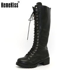 b2055c4f95112 KemeKiss New Designer Womens Square Low Heel Riding Motorcycle Heel Knee High  Boots Punk Gothic Platform Lace Up Shoes Size34-43