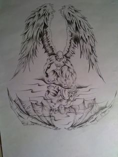 Quality picture demon angel tattoo designs for desktop computer and mobile phone. Family Tattoo Designs, Old School Tattoo Designs, Angel Tattoo Designs, Best Tattoo Designs, Angel Of Death Tattoo, Angel Back Tattoo, Angel Tattoo Men, Fallen Angel Tattoo Sleeve, Chest Piece Tattoos