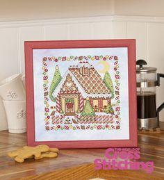 Gingerbread house idea, cross stitch pattern by Joan Elliott, The World of Cross Stitching magazine, issue 196