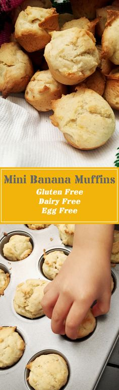 Gluten Free Vegan Mini Banana Muffins - Made with a 3 year old - With Extra Love and Without Gluten. Great for sharing, potlucks, parties, and for family fun. Gluten free, Dairy free and Egg Free. So good you won't even be able to tell!