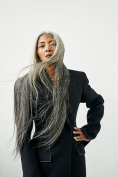 She's one of the faces of Rihanna's recent Fenty campaign, but JoAni Johnson's soaring modelling career only began when she turned However, she is no stranger to defying convention… Long Gray Hair, Grey Wig, Mature Fashion, Look Fashion, Grey Hair Fashion, Platinum Wigs, Silver White Hair, Natural Hair Styles, Long Hair Styles