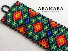 Mexican Huichol Beaded Peyote Bracelet Huichol by Aramara Peyote Beading, Seed Bead Bracelets, Bead Earrings, Seed Beads, Bead Loom Patterns, Peyote Patterns, Beading Patterns, Beading Tutorials, Bead Weaving