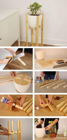 Cómo hacer macetero de madera diy wooden planter - Game Tutorial and Ideas Diy Para A Casa, Diy Casa, Diy Wooden Planters, Wooden Diy, Diy Wooden Crafts, Diy Wood Projects, Home Projects, Diy Plant Stand, House Plants Decor