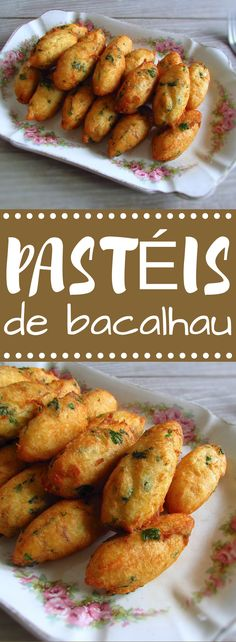 This typical Portuguese recipe of cod fritters is appreciated by all, can be served with lettuce salad or with a delicious tomato rice. Cod Recipes, Fish Recipes, Seafood Recipes, Gourmet Recipes, Cooking Recipes, Dinner Recipes, Healthy Recipes, Gourmet Desserts, Plated Desserts