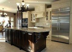 light cabinets dark island - Google Search