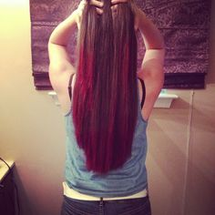 Dip dyed my cousins hair with kool-aid ! 1 packet of unsweetened kool-aid for every cup of water! We did 3 packets of fruit punch kool-aid and 2 packets of cherry kool-aid! Works great (: