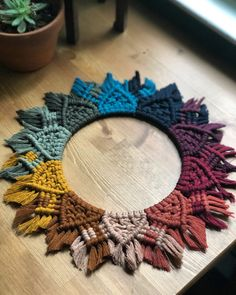 Rainbow Macrame Mandala PREORDER available for purchase through Etsy Kittysknittycreation Macrame Mirror, Macrame Art, Macrame Projects, Macrame Knots, Yarn Projects, Macrame Wall Hanging Patterns, Macrame Patterns, Murs Violets, Macrame Design