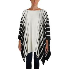 Lauren Ralph Lauren Womens Poncho Striped Poncho Sweater