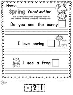 PUNCTUATION - kindergarten writing - writing center - period - question mark - exclamation mark practice worksheet