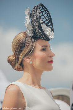 Normally I'm head over heals for this type of headpiece but looks like a girl stepped between a fish n' chips platter and the trash bucket someone was aiming for... (Melbourne Cup Carnival 2014 at Derby Day)