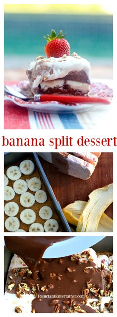 Banana Split Dessert for easy entertaining. Bring to a potluck, make-ahead for a shower or outdoor summer party!