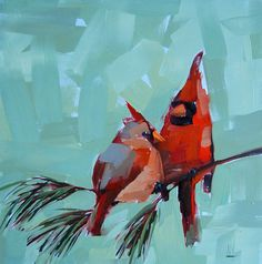 Two Cardinals No. 3 Original Bird Oil Painting By Angela Moulton 12 X 12 Inches…
