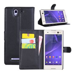 Free Shipping for xperia C3 case Litchi texture PU Leather Flip Case Cover For Sony xperia C3 with Stand Function Card Holder