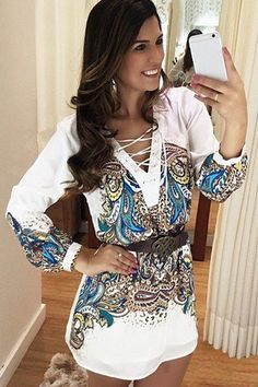 Paisley Print Plunging Neck Long Sleeve Dress