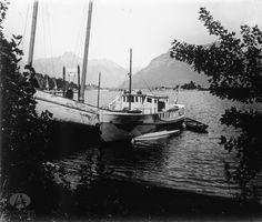 Lancha Correntoso y Goleta Pampa, Pto. Anchorena, Isla Victoria, Año 1928 (Col. Catalano en Archivo Visual Patagónico)