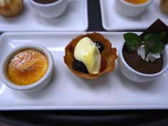 Our Dessert Trio: Mini Creme Brulee, Mixed Berries with Champagne Sabayon, Mini Pot du Creme