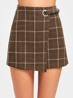 5ccb7cd4cb High Waist Embellished Checked Mini Skirt - Coffee M Plaid Pleated Skirt, Plaid  Skirts,