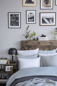 Loft Style Bedroom With Raw Wood Headboard Chic Deco Living Room Loft Style Bedroom, Dream Bedroom, Home Bedroom, Calm Bedroom, Master Bedroom, Bedroom Black, Modern Bedroom, Natural Bedroom, Bedroom Interiors