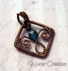 Fleurette -- Kyanite and Copper Wire Wrapped Pendant | WynterCreations - Jewelry on ArtFire