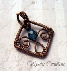 Fleurette -- Kyanite and Copper Wire Wrapped Pendant | WynterCreations - Jewelry on ArtFire