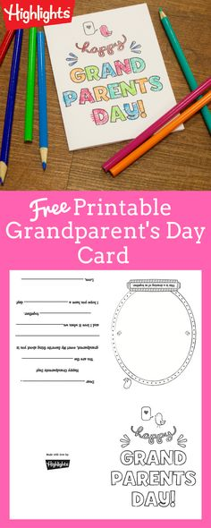 Download this free printable card that your kids can color and give to Grandma and Grandpa for Grandparent's Day!