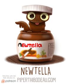 Animal Drawings Daily Paint Newtella by Cryptid-Creations - Cute Food Drawings, Cute Animal Drawings Kawaii, Kawaii Drawings, Cartoon Drawings, Kawaii Doodles, Kawaii Art, Animal Puns, Animal Food, Diy Y Manualidades