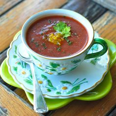 Andrew Zimmern's Gazpacho | Andrew Zimmern adds Worcestershire sauce and herbs to his gazpacho, giving extra layers of flavor to the classic chilled soup.Food & Wine