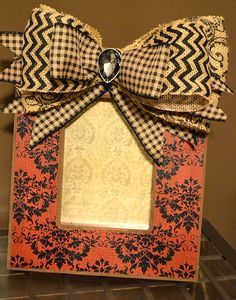 Deep Black & Red Damask 5x7 Picture Frame Embellished with a Dramatic Houndstooth, Damask and Chevron Burlap Bow w/ Stealth Stone Accent on Etsy, $35.00