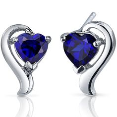 2 cts Heart Cut Blue Sapphire Sterling Silver Earrings