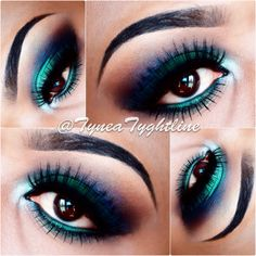 This gorgeous eye makeup uses eye shadow in dark shades and jewel tones. Recreate this awesome night out makeup like a pro by seeing the  products here.