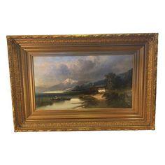 Large Framed Landscape Oil Painting by Vintagefurnitureetc on Etsy