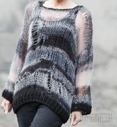 Knit Distressed Goth Sweater Black Sweater Hand Knit Tunic Sweater Hand Knit Oversized Sweater