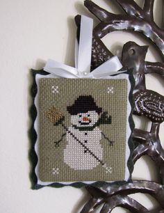 Completed/Finished Primitive Snowman Cross Stitch by MamasStitchin