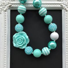 Aqua bubblegum necklace by LilchicboutiqueLIC on Etsy