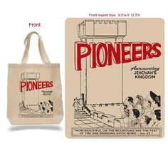 Vintage styled tote bag Pioneers Announcing Jehovahs Kingdom. Natural cotten tote bag Tote measures 15.75 x 15.25 Artwork measures 12.3 x 9.5 Great gift for pioneers, SKE graduates, and others in the full time service. Like us on Instagram @a_little_loopy