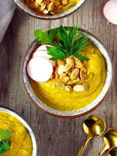 Golden Soup, a puree of turmeric roasted cauliflower.