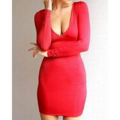 Sexy Plunging Neck Long Sleeve Solid Color Hollow Out Dress For Women blue red (Sexy Plunging Neck Long Sleeve Solid Colo) by http://www.irockbags.com/sexy-plunging-neck-long-sleeve-solid-color-hollow-out-dress-for-women-blue-red