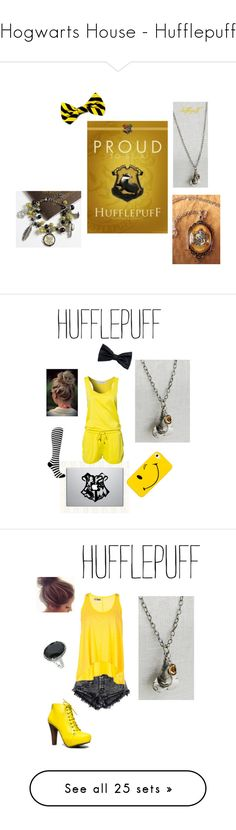 """""""Hogwarts House - Hufflepuff"""" by briony-jae ❤ liked on Polyvore featuring harry potter, hufflepuff, hogwarts, backgrounds, fillers, art, Vero Moda, H&M, Lija and Qupid"""