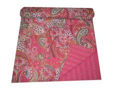 IndianReversible Throw Gudari Kantha Quilt Twin Size Bedspread Vintage Decor Art #Handmade #Traditional