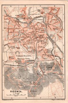 1903 Map of Vicenza Antique Map Vintage Lithograph by Craftissimo