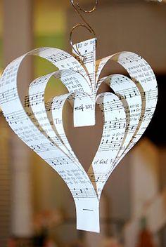 Music heart Christmas Party Hats, Christmas Angel Decorations, Paper Decorations, Christmas Angels, Christian Christmas Crafts, Christmas Origami, Christmas Countdown, Newspaper Crafts, Paper Crafts For Kids
