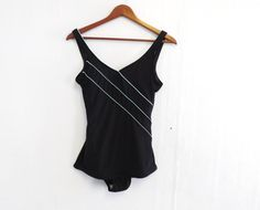 Vintage Retro 70s 80s One Piece Black Teal Striped Bathing Suit Swimwear Swimsuit Low Hip Bombshell Pin Up Medium Small