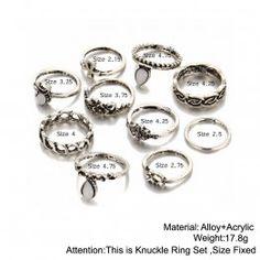 17KM 10pcs/Set Gold Color Flower Midi Ring Sets for Women Silver Color Boho Beach Vintage Turkish Punk Elephant Knuckle Ring